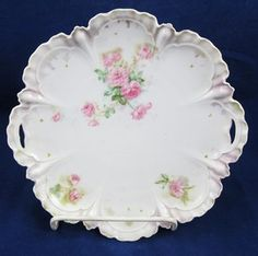 R s Prussia Pink Rose Cake Plate Dish Open Handle Decorative Antique Iridescent | eBay