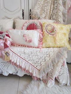 a softly colored bedding set