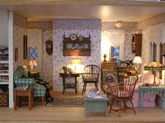 This is a miniature living room, but, I just love the talented decorator that put this together so, I had to add it to my farmhouse lr ideas.