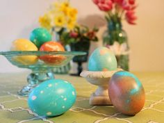 Take your Easter egg decorating to the next level by adding jewels, washi tape, colorful dip-dyed designs and more. Your spring tablescape will never be the same.