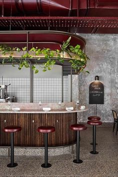 Pink marble and patchy concrete emulate ancient Rome in Melbournes Pentolina pasta bar beton Pasta Bar, Cafe Restaurant, Open Kitchen Restaurant, Italian Restaurant Decor, Restaurant Bar Stools, Italian Restaurants, Vintage Restaurant, Top Restaurants, Bar Beton