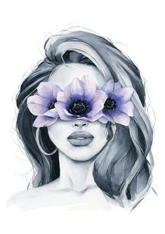 Anemone blindfolded Anemone blindfolded – Polina Bright<br> Anemone blindfolded girl from my wall art print collection. Great for framing and room decor. Illustration Art Dessin, Watercolor Girl, Watercolor Paintings Nature, Watercolour Painting, Bright Art, Beauty Art, Portrait Art, Pencil Portrait, Portraits