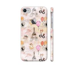 Paris France Eiffel Tower Love In Pink Phone Case Back Cover For Apple iPhone 7 with hole for logo Mobile | Artist: UtART
