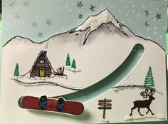 Stampin Up Mountain Adventures as a slider card. Reindeer stamp from Greetings From Santa.