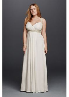 Spaghetti Strap Plus Size Wedding Dress 260205W