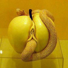 In the Abrahamic religions, the serpent represents sexual desire.According to the Rabbinical tradition, in the Garden of Eden, the serpent represents sexual passion Adam Et Eve, Forbidden Fruit, Erotic Art, Sculpting, Artsy, Cool Stuff, Funny Stuff, It's Funny, Artwork