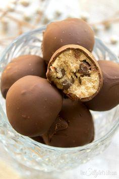 Chocolate Chip Cookie Dough Bon Bons. Edible chocolate chip cookie dough in a shell of crisp milk chocolate. So addictive!