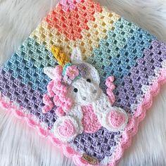 Crochet Baby Blanket - Baby Blanket - Handmade Baby Blanket - Unicorn Baby Blanket - Crochet Baby Blanket - Baby Unicorn - crochet puntos y cositas - Baby Girl Crochet Blanket, Baby Blanket Size, Crochet Blanket Patterns, Crochet Unicorn Blanket, Crochet Afghans, Crochet Baby Blankets, Quilt Patterns, Handmade Baby Blankets, Crochet Gifts