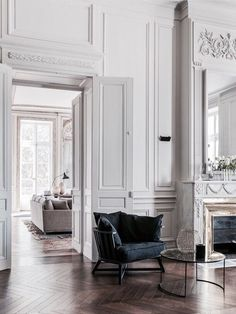 Stunning space. Love the herringbone floor, high ceilings, and beautiful interior architecture. #dreamhouse #frenchstyle #interiordesign