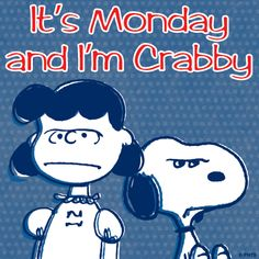 It's Monday and I'm Crabby! funny day charlie brown snoopy peanuts monday days of the week lucy weekdays i hate mondays Peanuts Cartoon, Peanuts Snoopy, Peanuts Comics, Charlie Brown Und Snoopy, Lucy Van Pelt, I Hate Mondays, Pomes, Snoopy Quotes, Peanuts Quotes