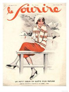 Le Sourire, Ice Skating, Winter Sport Magazine, France, 1930 Premium Poster at Art.com