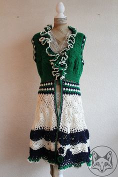 Lang vest groen met wit - La Volpe Moda