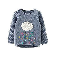 Mud Kingdom Girl's Cloud & Coloful Rains Sweater 6-7T Gra...