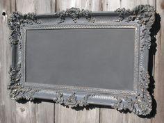 Idea for making my own chalk board from vintage frame & board w/ chalk board paint on it.