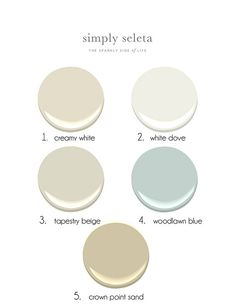 Beachy Pallete - Creamy White (creamy with no strange undertones), White Dove (a clean white, great for trim), Tapestry Beige (soft neutral with a hint of warm gray), Woodlawn Blue (soft blue with not much green), and Crown Point Sand all colors by Benjamin Moore