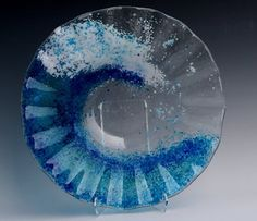 Glass Fusion Wave bowl. This is a kiln fired piece of glass art. Dishwasher and food safe! $105.00 Visit our site to shop today!