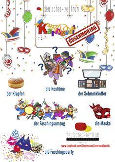 Karneval Deutsch Wortschatz Vocabulario DAF