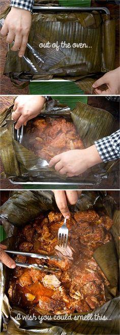 Banana Leaf Brasing_Cochinita-Pibil_Yucatan, México-Style_Yes,-more-please! Authentic Mexican Recipes, Mexican Food Recipes, Pork Recipes, Cooking Recipes, Recipies, Comida Latina, Mexican Cooking, Bbq, Latin Food