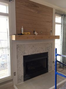 Shiplap and Herringbone Tile Fireplace Renovation : Our fireplace overhaul…from drab to fab! See the shiplap, herringbone tile and wood mantel transformation! Tile Around Fireplace, Wood Mantle Fireplace, Rustic Mantle, Fireplace Tile Surround, Brick Fireplace Makeover, Wood Mantels, Farmhouse Fireplace, Home Fireplace, Marble Fireplaces