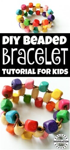Here is a simple tutorial for creating your own DIY bracelet. Your kids are so to enjoy this fun craft! It's also a great way to work on some of their fine motor skills! Start crafting today! Kids Jewelry, Simple Jewelry, Jewelry Crafts, Jewellery Diy, Jewellery Making, Jewelry Ideas, Jewelry Accessories, Kids Bracelets, Diy Bracelets Easy
