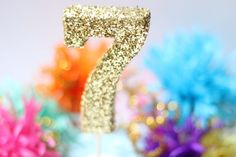 Glittered Number Cake Topper by michiemay on Etsy, $8.99