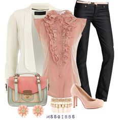 A fashion look from February 2013 featuring white jacket, dark straight leg jeans and high heel shoes. Browse and shop related looks.