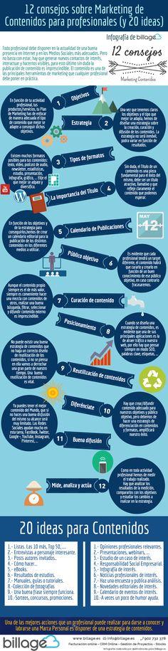 12 consejos sobre Marketing de Contenidos para profesionales (y 20 ideas) #infografia