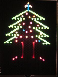 Lite Brite Christmas tree scene Lite Brite, Christmas Tree, Symbols, Templates, Charts, Beading, Cross Stitch, Scene, Bright