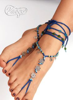 Barefoot sandals - foot jewelry perfect for the summer. One size fits all. Barefoot sandal can be worn barefoot or with shoes. For any barefoot
