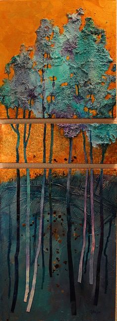"""Golden Pond"" textured tree landscape painting by Carol Nelson"