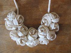 Romantic Rosette Necklance Handmade with Raw Cotton
