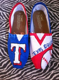 customized---texas rangers painted shoes