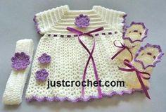 Free PDF baby crochet pattern for dress, headband & booties Free PDF baby crochet pattern for Dress, Headband & Booties http://www.justcrochet.com/dress-headband-booties-usa.html #justcrochet: