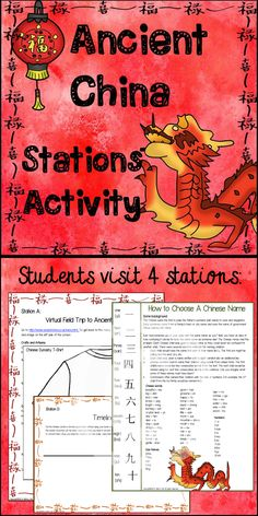 $ Supplement your lesson on Ancient China (Shang - Han Dynasties) with this Ancient China Stations Activity. In this activity, pairs of students visit 4 stations: 1. Ancient China Virtual Field Trip (internet connected computer required) 2. Dynasty T-shirts 3. Chinese Names 4. Ancient China Timeline  Also included in this pack, station signs, a 25 question worksheet to be assigned as classwork or homework, and answer keys.