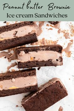 Peanut butter chocolate ice cream sandwiched between fudgy brownies! These are a peanut butter chocolate lovers dream. Plus they're so EASY to make! Chocolate Brownie Ice Cream, Chocolate Peanut Butter Brownies, Chewy Brownies, Chocolate Lovers, No Bake Desserts, Easy Desserts, Dessert Recipes, Peanut Butter Ice Cream, Vegetarian Chocolate