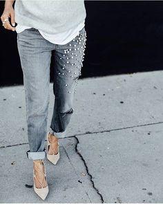 DIY Jeans bordado com pérolas