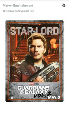 Star Lord GotG2 from marvel entertainment Snapchat