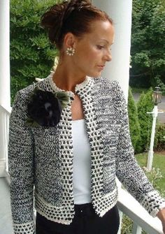 Christinas Jacket pattern by Marcia Cleary - Chanel Cardigan - Ideas of Chanel Cardigan - skeins of two colorways required Crochet Coat, Crochet Jacket, Knit Jacket, Crochet Cardigan, Crochet Clothes, Chanel Jacket Trims, Chanel Style Jacket, Jacket Pattern, Pulls