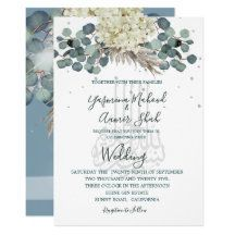 Floral Dusty Blue Bismillah Elegant Wedding Invitation