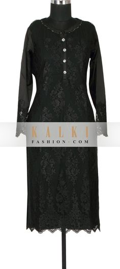 Buy Online from the link below. We ship worldwide (Free Shipping over US$100) http://www.kalkifashion.com/black-satin-and-net-a-line-kurti-embellished-in-resham-embroidery-only-on-kalki.html
