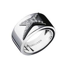 Bague Etoiles Divines, or blanc, pavage diamants