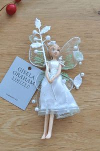Snowberry Fairy with beautiful Leaf design Hanging Decoration by Gisela Graham