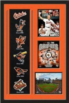 Baltimore Orioles Banner With Logos - Cal Ripken , Jr.-2632nd game hat tip photo, Baltimore Orioles All -Time Greats photo, Oriole Park Camden Yards photo Framed With Different Team Photos-Awesome & Beautiful