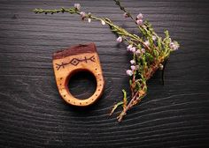Viking runes ring  Wooden ring  Statement ring  Primitive