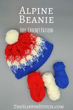 Free Crochet Pattern - Alpine Beanie - #crochet #crochetpattern #freepattern #beanie #pompoms