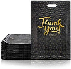 Amazon.com : LOVEETA Poly Mailers Shipping Envelopes Bags - 100 Pack 12 x 15 Cute Thank You Poly Mailer with Handle Self Adhesive Packaging Bags Large Black White Golden Package Shipping Bags for Clothing (BLACK) : Office Products Shipping Envelopes, Black Office, Poly Bags, Nursery Prints, Large Bags, Adhesive, Packing, Handle, Wallet