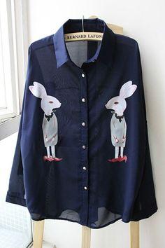 Fairy Tale Rabbit Print Long Sleeve Shirt OASAP.com