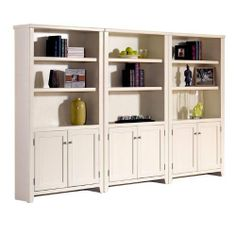 Tribeca Loft White Bookcase Wall with Doors Eggshell White by Martin Furniture. $1750.00. One fixed shelf and three adjustable shelves per bookcase. Set includes three lower door bookcases. Quality constructed of hardwood solids and veneers. Distressed White hand rubbed finish. It's time to bring new life to your home office with the popular and stylish Tribeca Loft White collection from Kathy Ireland by Martin. This handsome combination of clean, contemporary li...