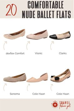 """Mostly though, when I need to """"style-up"""" an outfit, flats never let me down. When it comes to creating a capsule wardrobe, I tend to stick with neutrals or to the same color story so I can mix and match pieces and wear them for multiple occasions.A fun trend of late is nude color ballet flats! They're a terrific neutral and a classic that never ages badly.  Check out these comfy TFG picks! #TravelFashionGirl #TravelFashion #TravelShoes #nudeflats #comfortableflats #neutralshoes Travel Outfits, Travel Shoes, Nude Flats, Ballet Flats, Comfortable Flats, Professional Attire, Nude Color, Winter Shoes, Travel Style"""