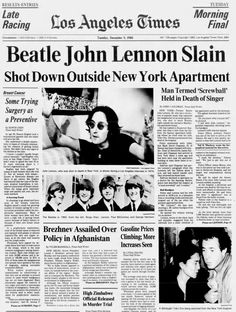 The Beatles' John Lennon shot and killed in New York -